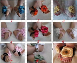 Wholesale Custom Sandals Wholesalers - 15%off! crochet pattern baby girl shoes sandals flowers barefoot straps 0-12M cotton custom 6pairs 12pcs.