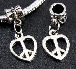 Wholesale 65pcs Tibetan Silver Heart Peace Sign Dangle Beads Fit Charms Bracelet mm