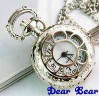 Wholesale Victorian Style Silver Flower Pocket Watch Necklace Dia cm