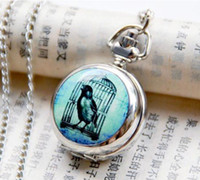 Antique bird cage mini - 12pcs Silver Tone Blue Bird Cage Mini Pocket Watch Necklace WE198 Dia m