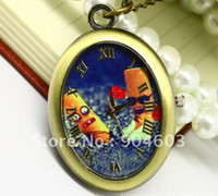 Wholesale 12 Vintage talking to cigarette oval Pocket Watch Necklace WP163