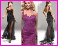 Wholesale 2013 Black Crystals Lace Mermaid One Shoulder Prom Dress Evening Dresses E1355