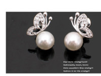 Wholesale Korean Fashion Tassel Butterfly Pearl Stud Earrings Fashion Jewelry Pearl Earings