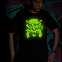 Wholesale Guns n roses skull luminous T shirts round collar rock music band party mens t shirt short sleeves