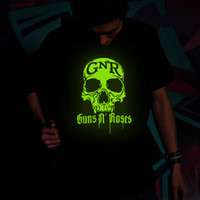 Wholesale Guns n roses skull luminous T shirts round collar rock music band party night club mens t shirt