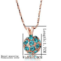 Beaded Necklaces   Min.Order Free shipping 18K Golden 18''-20'' chain and colorful balls pendant necklace LKN18KRGPN214-9