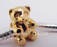 Wholesale golden bracelet fit pet bear charm bead gift bag new