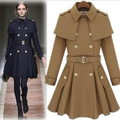 Fashion High Quality Women Coat European America Style Clothes Sexy Apparel Winter Cloak Wool