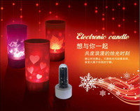 Wholesale LED Electronic Flicker seven Colors Change Candle Night Light Lamp lantern