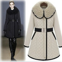Wholesale Brand New Sexy Apparel Women Winter Cotton Coat Inspissate Quilted Lining Clothes Woolen Collar Fit and Flare Belted Beige Black