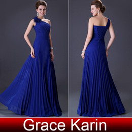 Wholesale Grace Karin New Blue One Shoulder Flower Formal Dresses Evening Long Chiffon Party Dress Ball Gown Prom Lace Up Back CL3467