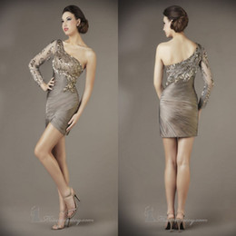 Wholesale High quality One shoulder Long sleeves Sequined Short Bling cocktail dress Prom