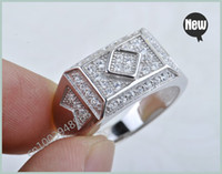 Three Stone Rings Unisex Gift Princess Cut With Micro Pave Russian CZ 925 sterling silver ring size8,9,10 BJ12
