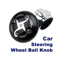 Wholesale 50 ocs New Black Car Hand Control Steering Wheel Knob Ball Suicide Spinner Power Handle