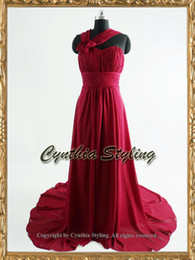 Wholesale Burgundy ruched handmade flower sweetheart neck wedding dress chapel train US2 H1017