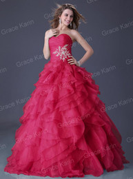 Wholesale Sexy Sweetheart Strapless Ball Gown Prom Dresses Grand Ruffle Quinceanera Dress CL3411
