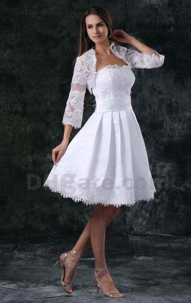 Discount White Short Wedding Dress With Elbow Sheer Sleeves Jacket ...