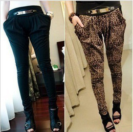 Wholesale NEW Korean woman s metal ACCESSORY Feet harlan pants CASUAL PANTS Leopard