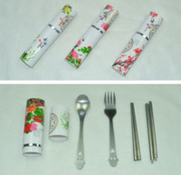 Wholesale China Wind Spoon Fork Chopsticks Simple Round Spoons Travel Tableware Three piece Flatware Sets