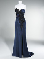 Reference Images beaded motif - Exquisite New Sexy Sweetheart Strapless Feather Motif Side Slit Satin Evening Dresses Prom Dresses