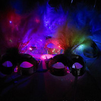 Wholesale With LED shine mask feather mask with light mask dance coloured drawing or pattern light platin