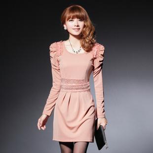 2013 Korea Fashion Womens Dresses Long-sleeve Elegant Basic ...