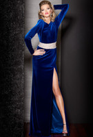 Wholesale 2013 Pageant Dress Sexy Velvet Beaded Backless Long Sleeves Formal Evening Dresses