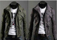 Wholesale New Slim Sexy Top Designed Mens Jacket Mandarin Collar Slim Fit Zip Coat With Hat T SL12122908
