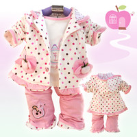 Wholesale 3 piece set Girl dot hooded jacket cotton small rabbit long sleeved T shirt trousers Baby suit