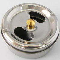 Wholesale Stainless Steel Ashtray With Lid Rotation Closed Off Smoke Function Ashtrays Soot Barrel