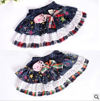 Wholesale Colorful Star Printed Plaid Butterfly Lace Mini Skirt Children Cowboy Skirt