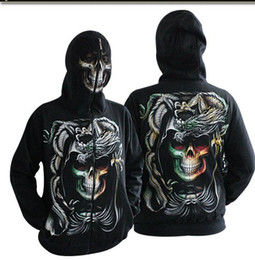Wholesale new hottest men s Hoodies Sweatshirt zipper D Grimace skull mask Punk Rock Hip hop black Overcoat