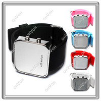 Wholesale S8Q Luxury LED Watch Jelly Silicon Sport Watch Digital Mirror Unisex Wrist Watch New AAAALD