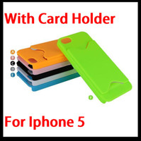 Plastic For Apple iPhone For Christmas Hard Plastic PC Case Back Cover Skin Shell for Apple Iphone 5 5G with Credit Card Slot Mix Colours