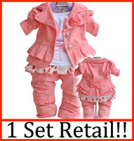Wholesale 1 set retail Baby girl suit kids pc long sleeve coat t shirt pants girls suits B zss