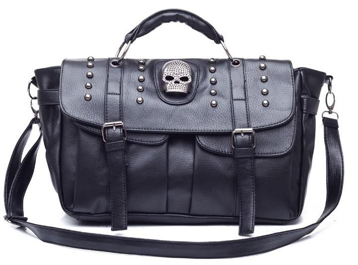 Jade Fox Handbags Lady Satchel Bags PU Punk Skull Black Brown ...