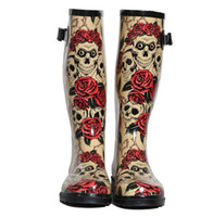Wholesale Rose Skull boots boots with high tube socks can rain boots with