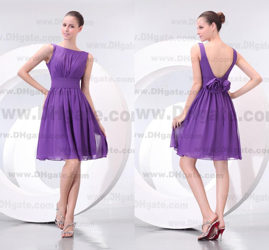 2014 Best Choice Off Shoulder Knee Length Purple Bridesmaid ...
