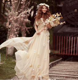 Wholesale New arrival fashion Korean Champagne silk Angel princess marriage flower lace bridal wedding dresses