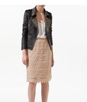 Wholesale New Fashion Jacket Women s PU Leather Blazer coat with Zipper Rivet Black O