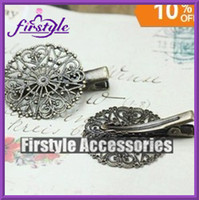 Barrettes & Clips bobby pins with pad - Hot Selling Alloy Hair Bobby Pin clips with mm Flower Pad Tray Jewelry Findings Accessories