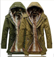 Wholesale 2013 Hot New Fashion Hooded Men s Fur Winter warm With Faux Fur Ling Long Coat Outerwear