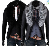 Wholesale 2013 Hot New Arrival Men s Slim Fashion Two buckle Fur collar Coattails suit Jacket Coat Outerwear