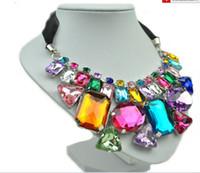 Wholesale 2013 Handmade colorful beaded geometric crystal stone necklace silk ribbon chain chokers collar XMAS