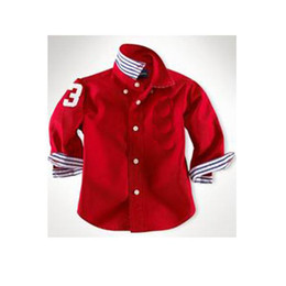 Wholesale Children s Shirts boy s Shirts Spring autumn long sleeve Shirts red white Dark blue