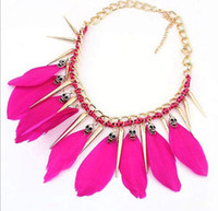 Wholesale Luxury punk feather necklace Studs Spike Rivets skull Tassels Chunky necklaces chain chokers collars charm jewelry