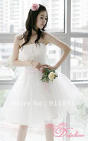 Wholesale In Stock Fashion Best Selling Strapless Mini Length Bow White and Red Color Cheap Litter White Wedding Dresses