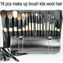 Wholesale Professional cosmetic makeup make up wool hair brush set amp kits with wood cylinder case