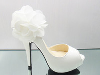 Wholesale White Flower fish mouth heels shoes Evening Party Dress Lady Bridal Wedding Shoes sandals