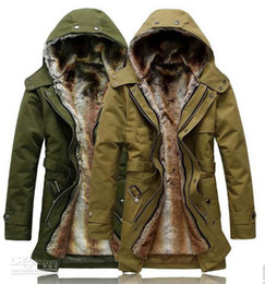 Wholesale 2012 Hot sell New Hooded Men s Fur Winter warm With Faux Fur Ling Long Coat Outerwear